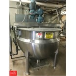 Hamilton 300 Gallon S/S Jacketed Kettle with Scrape Surface Agitation, S/N D-6542, 150 PSI Jacket