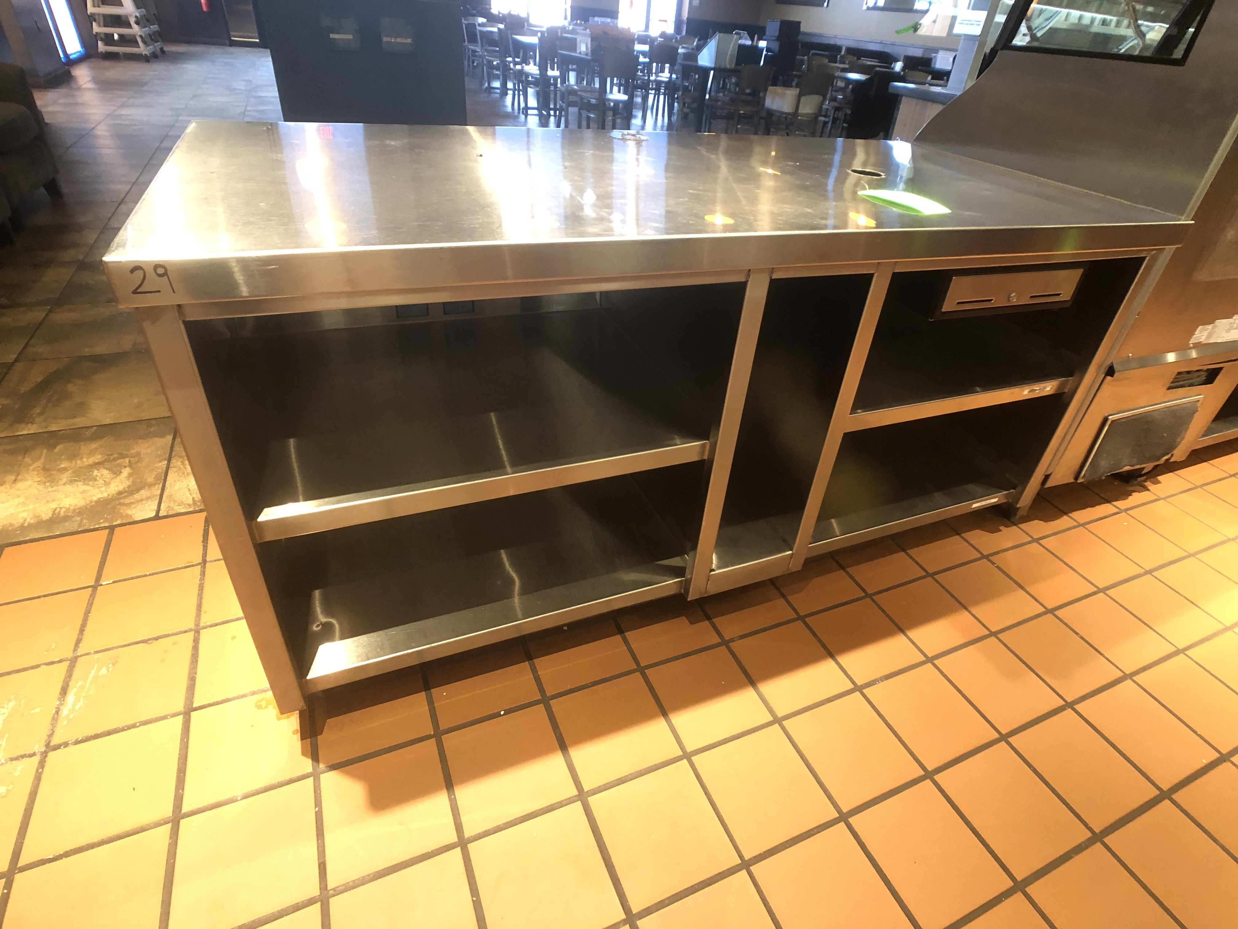 """Approx. 6' W x 34"""" W S/S Countertop Register Station with S/S Shelves - Image 2 of 4"""