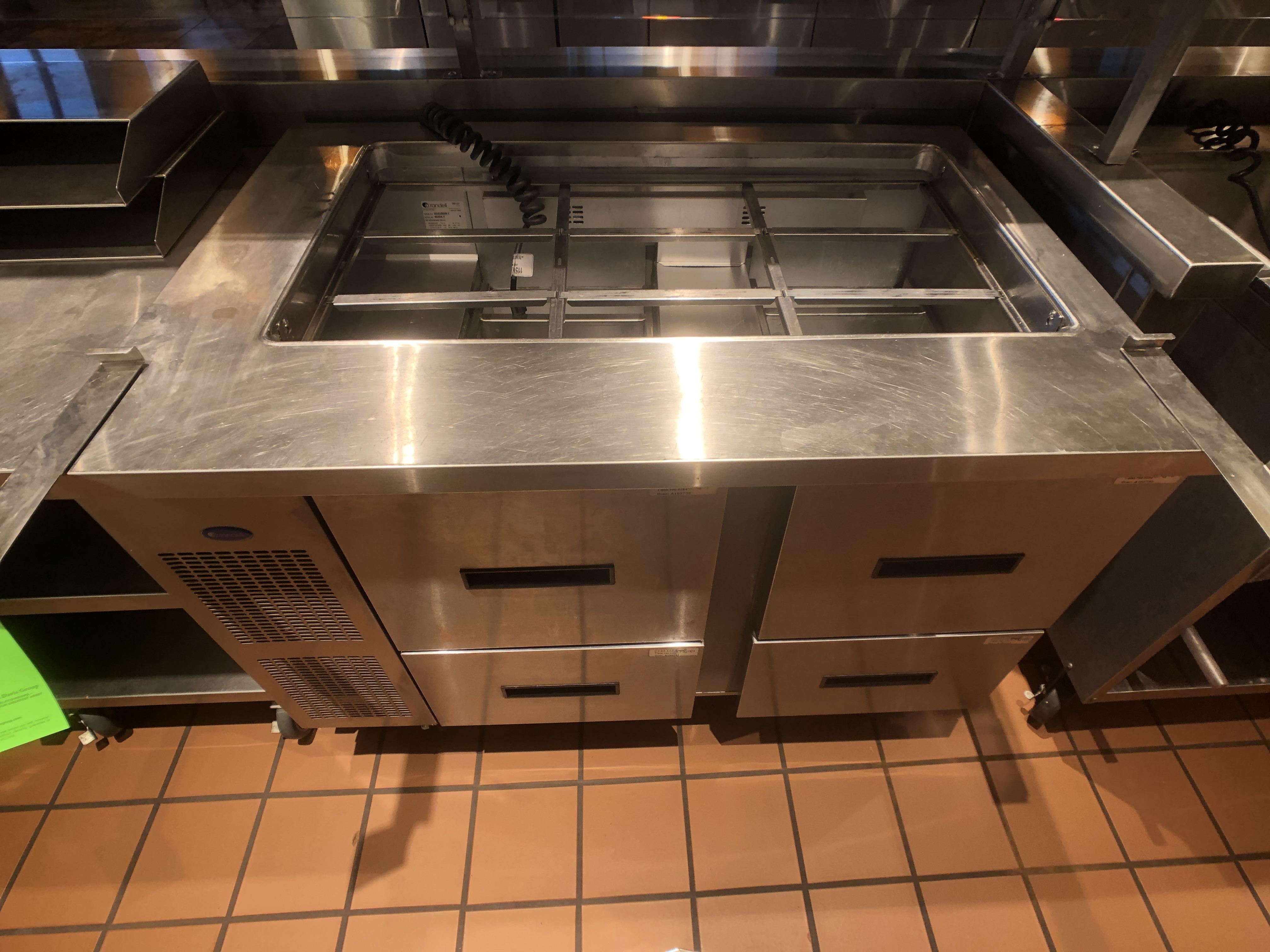 "Randell Refrigerator / Sandwich Prep Table, Model 9030K-7, S/N W1035669-1, 48"" W x 33"" D36"" H - Image 4 of 5"