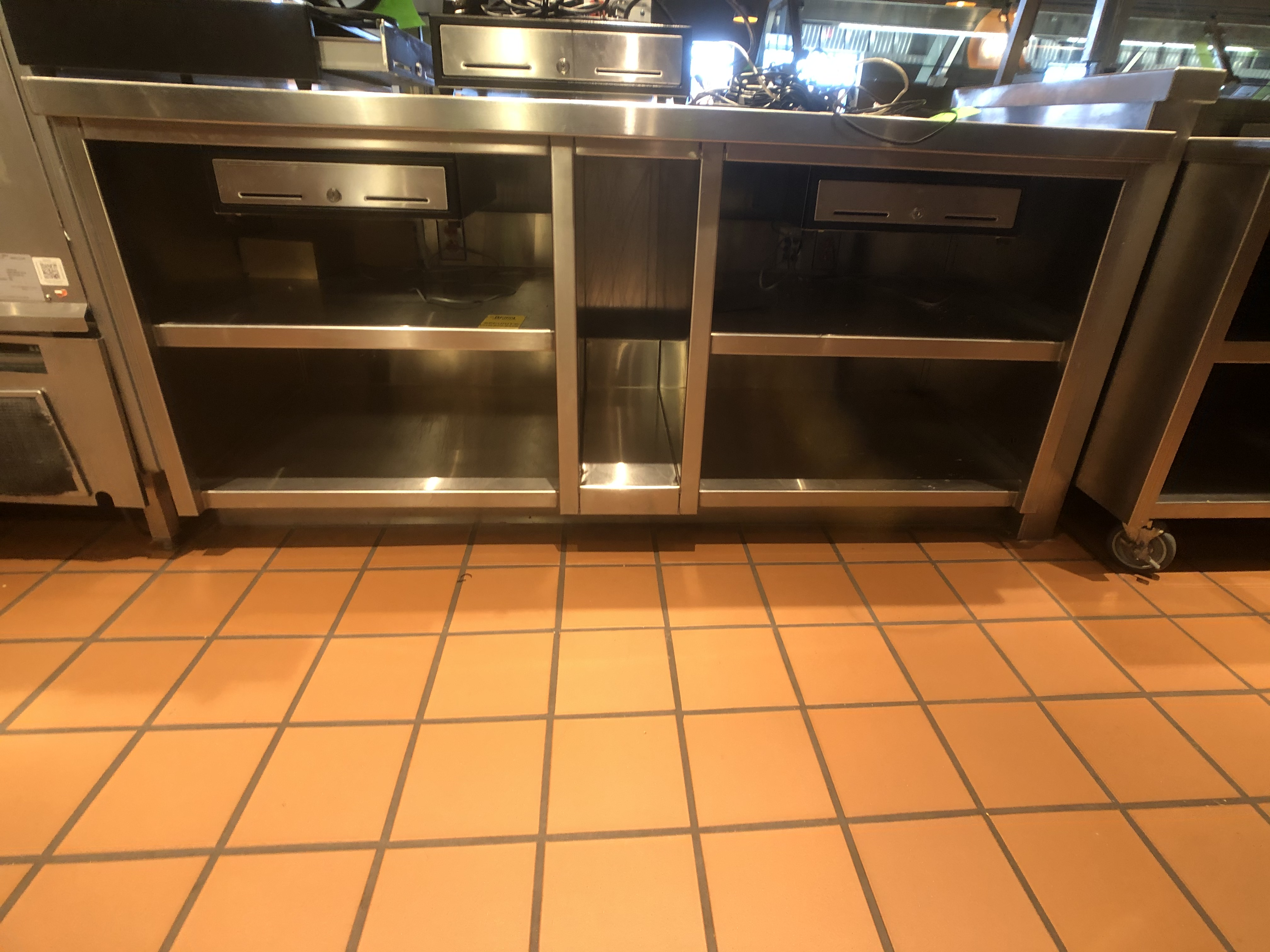 "Approx. 6' W x 34"" W S/S Countertop Register Station with S/S Shelves (NOTE: Does Not Include Cash - Image 3 of 6"