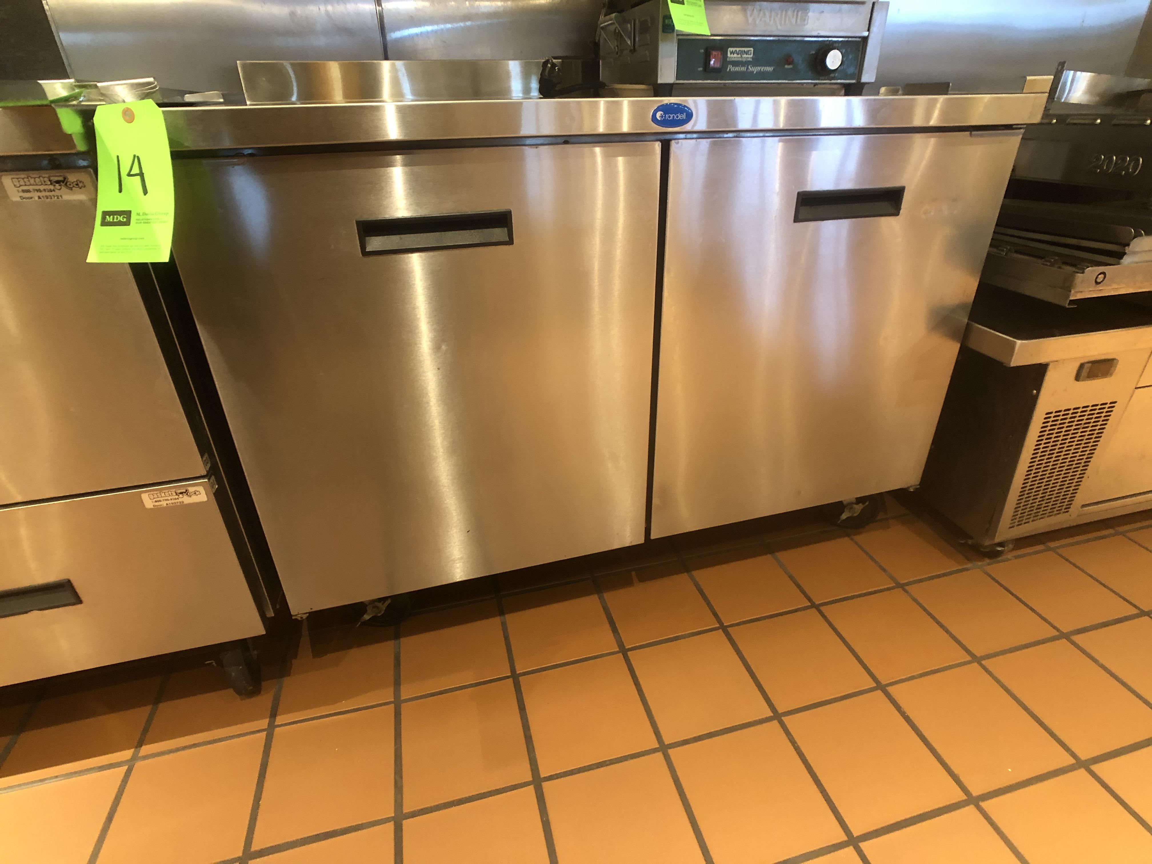 """Randell (2) Door Worktop Refrigerator, Model 9302-7, 48"""" W x 30"""" D x 36"""" H, Mounted on Casters"""