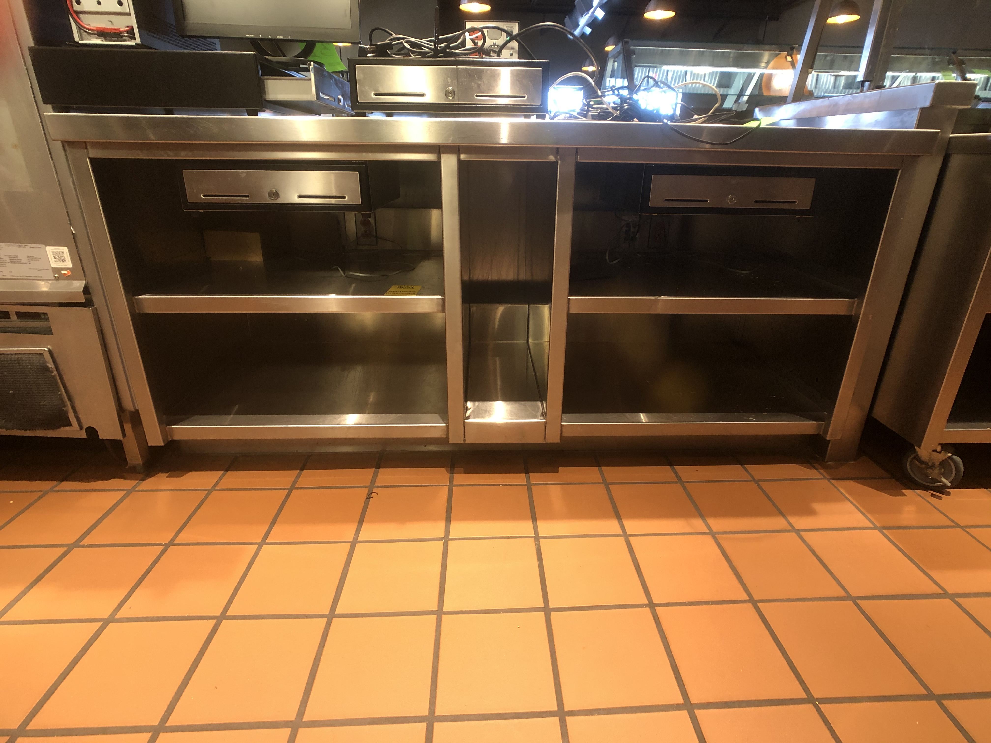 "Approx. 6' W x 34"" W S/S Countertop Register Station with S/S Shelves (NOTE: Does Not Include Cash - Image 4 of 6"