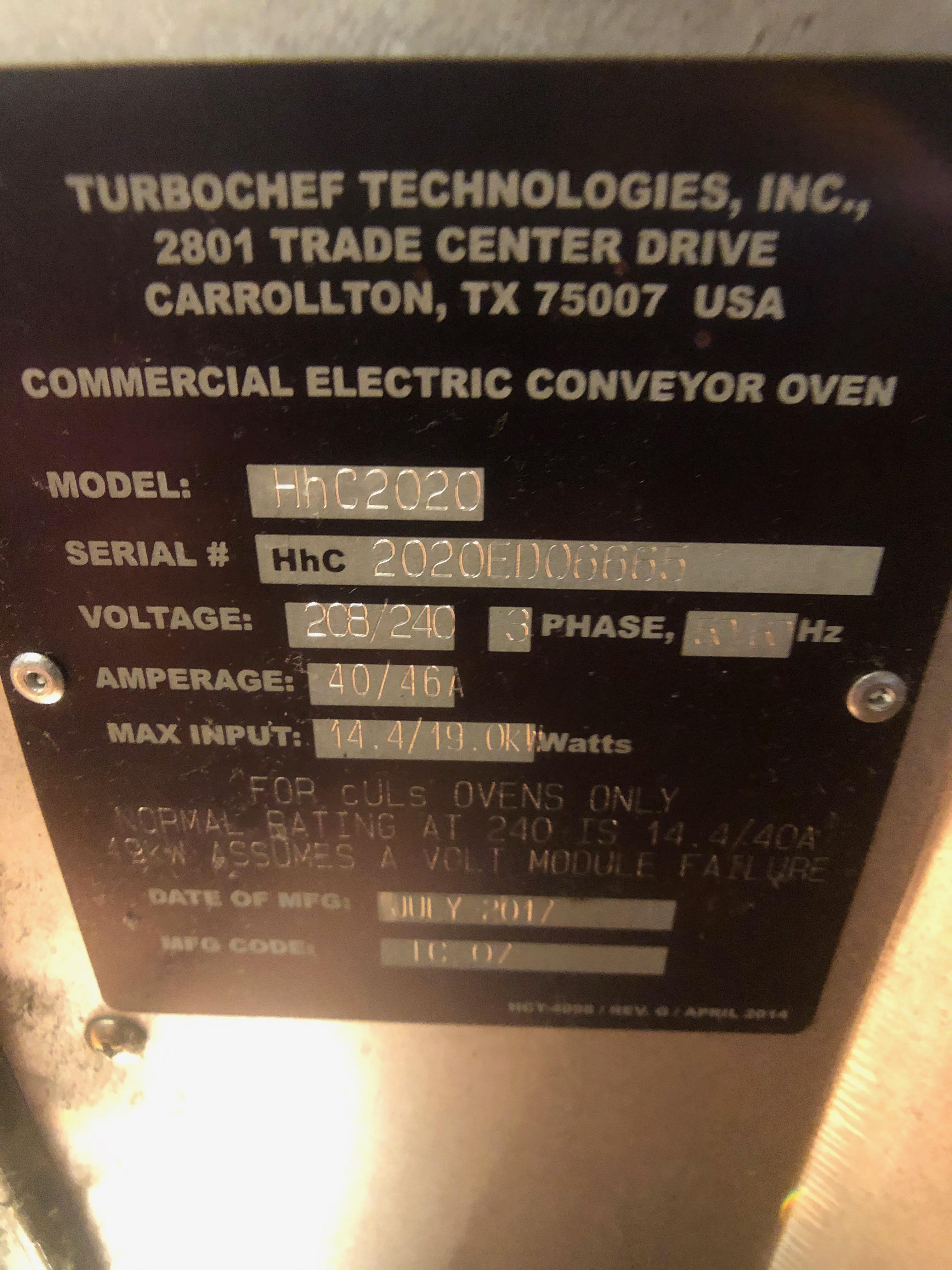 TurboChef Conveyor Oven, Model HHC2020, S/N HHC2020ED06665 - Image 4 of 7
