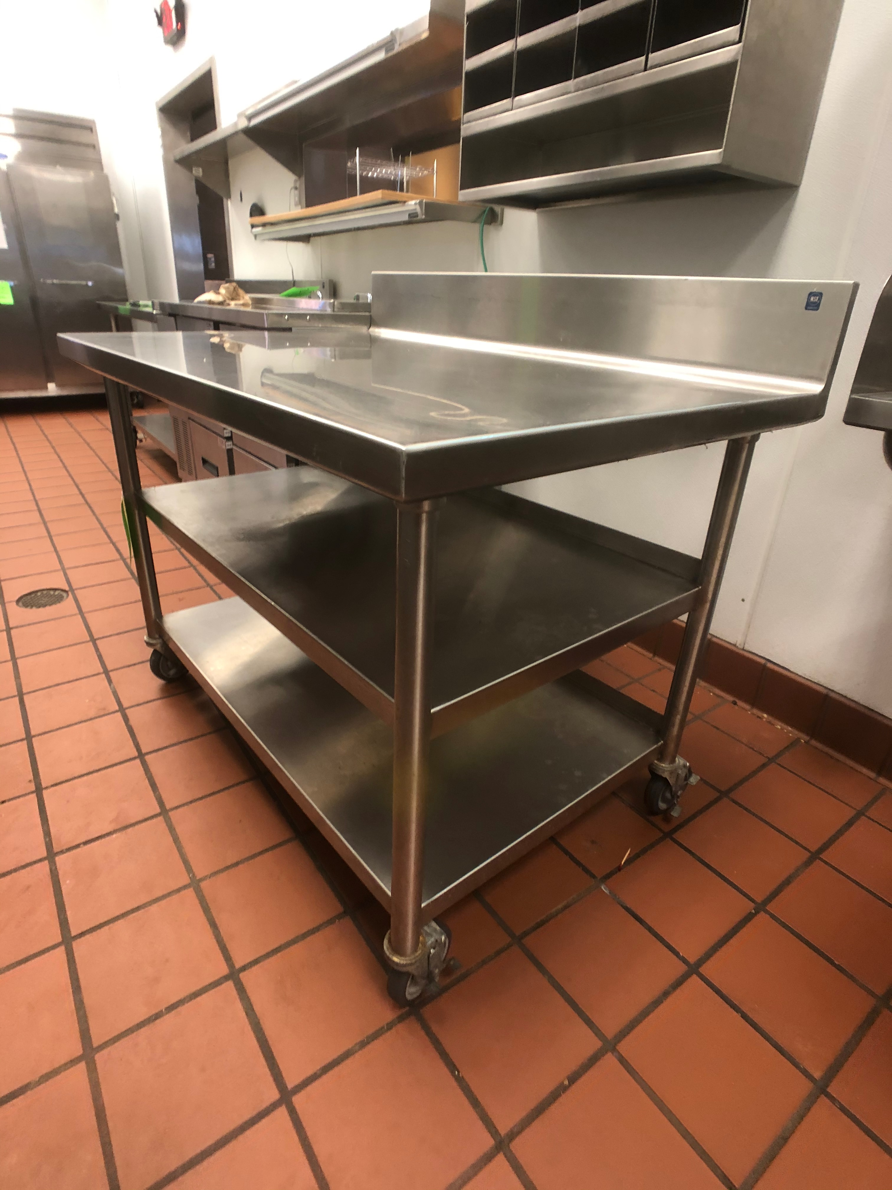 """S/S Table with Racks and S/S Backsplash, Approx. 48"""" L x 32"""" W, Mounted on Casters - Image 2 of 2"""