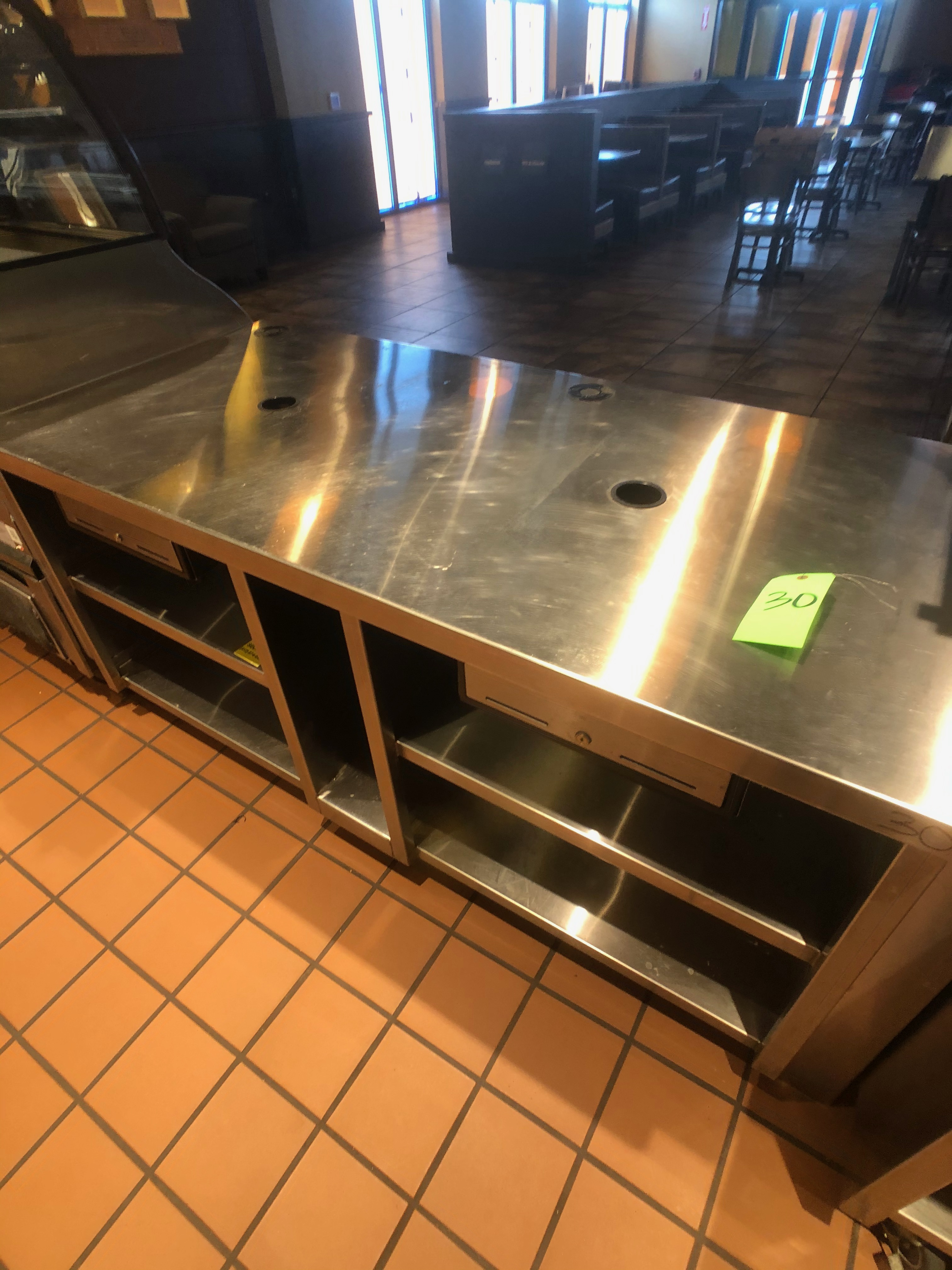 "Approx. 6' W x 34"" W S/S Countertop Register Station with S/S Shelves (NOTE: Does Not Include Cash - Image 5 of 6"
