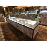 Randell Approx. 15' L x 4' W Refrigerated Buffet Table with Overhead Light, Work-Top Refrigerator