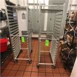 (2) Portable Tray Racks Mounted on Casters
