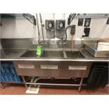 """3-Bowl S/S Sink with High Pressure Spray Nozzle, Approx. 120"""" L x 30"""" W, Includes Sunburst"""