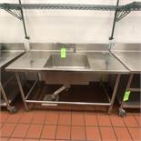 """Single-Bowl Sink and S/S Backsplash, Table Approx. Overall Dimensions: 60"""" L x 32"""" W, Sink Approx."""