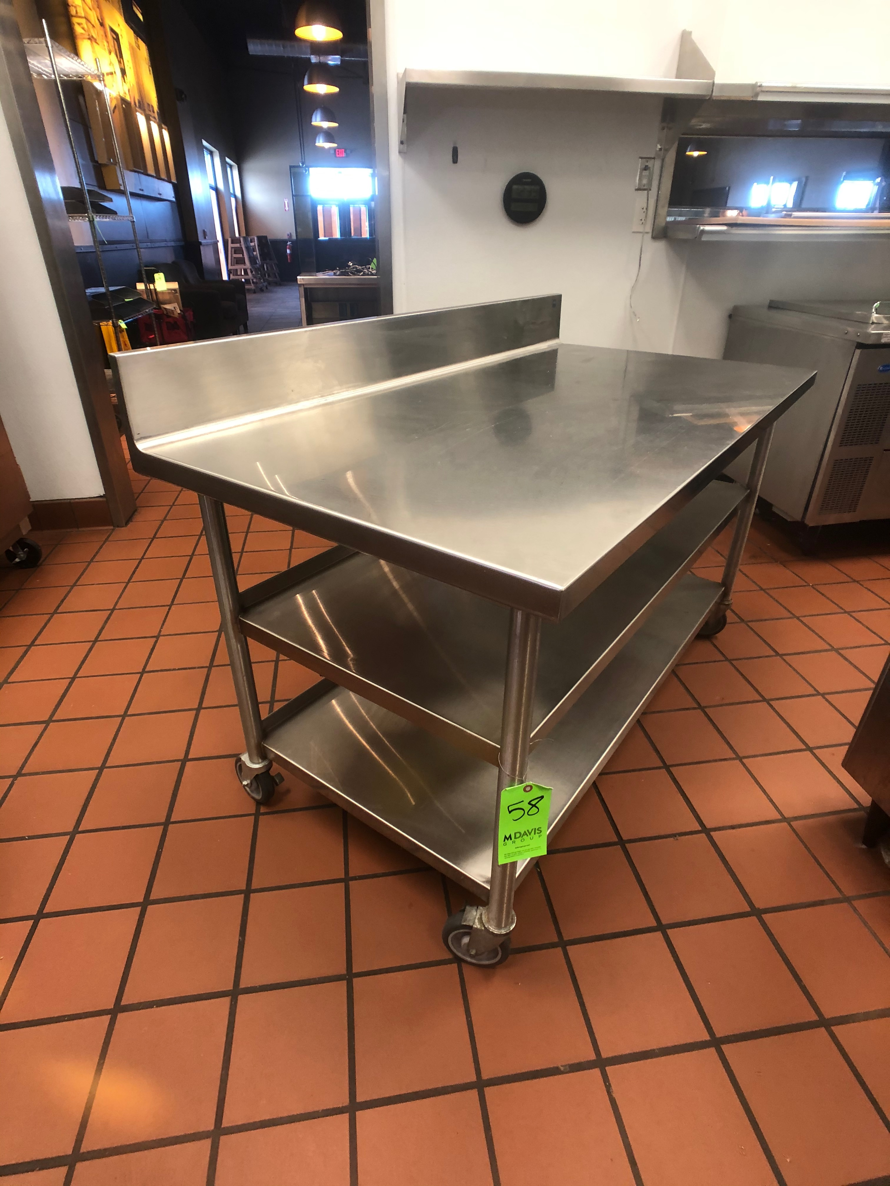 """S/S Table with Racks and S/S Backsplash, Approx. 60"""" L x 32"""" W, Mounted on Casters - Image 3 of 3"""