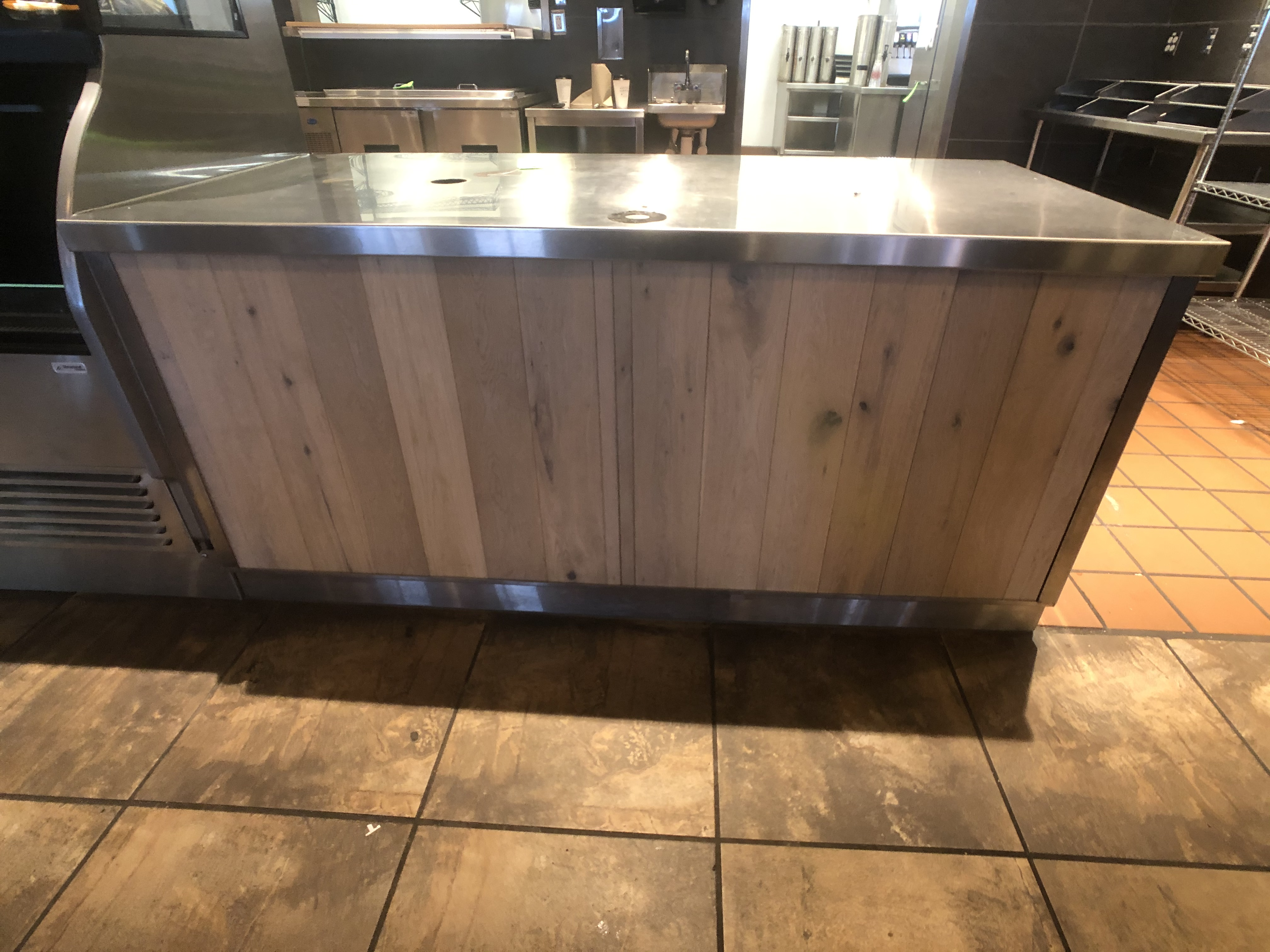 """Approx. 6' W x 34"""" W S/S Countertop Register Station with S/S Shelves - Image 3 of 4"""