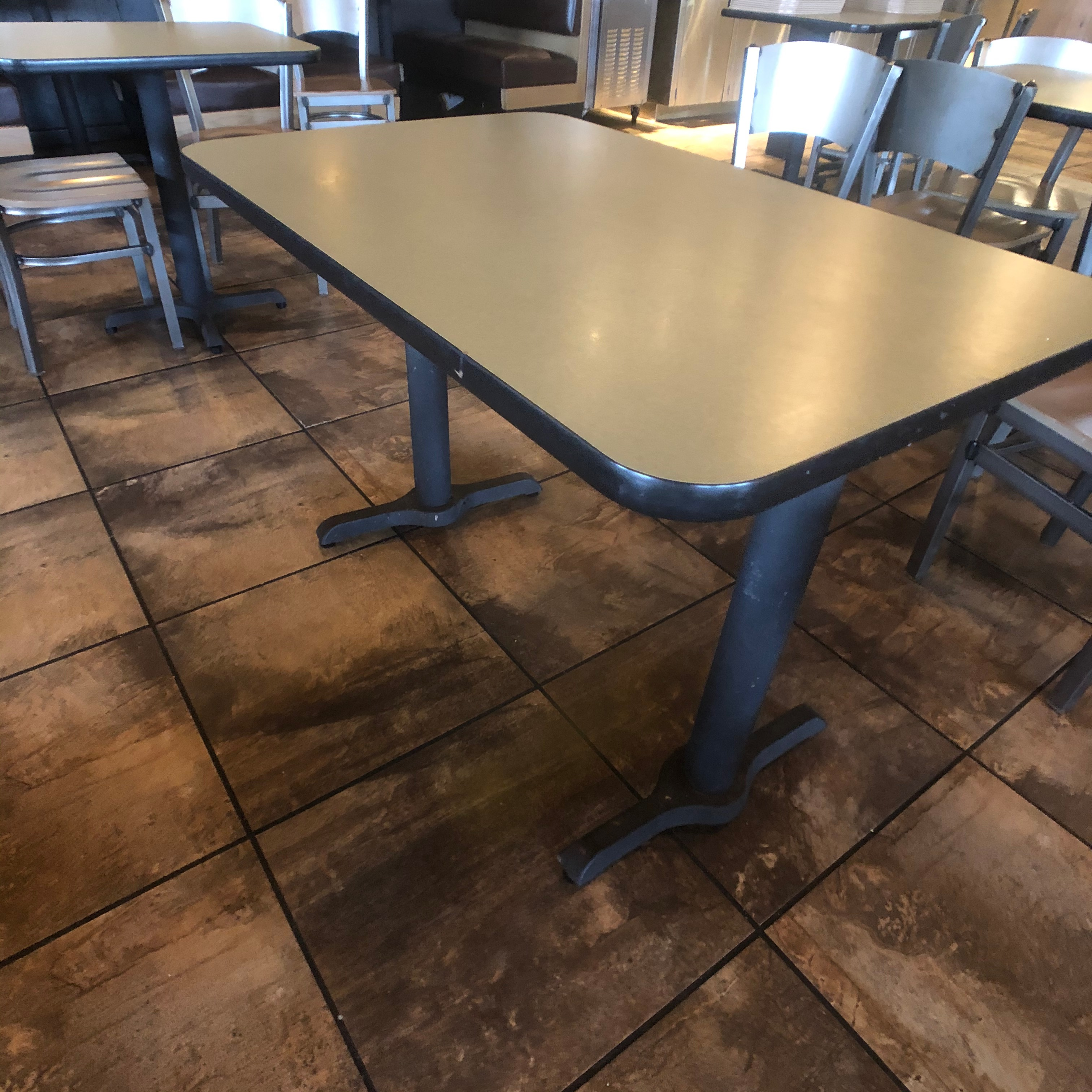 "(6) 4-Person Tables with (24) Walsh Simmons Seating Chairs, Approx. 44"" L x 28"" W"