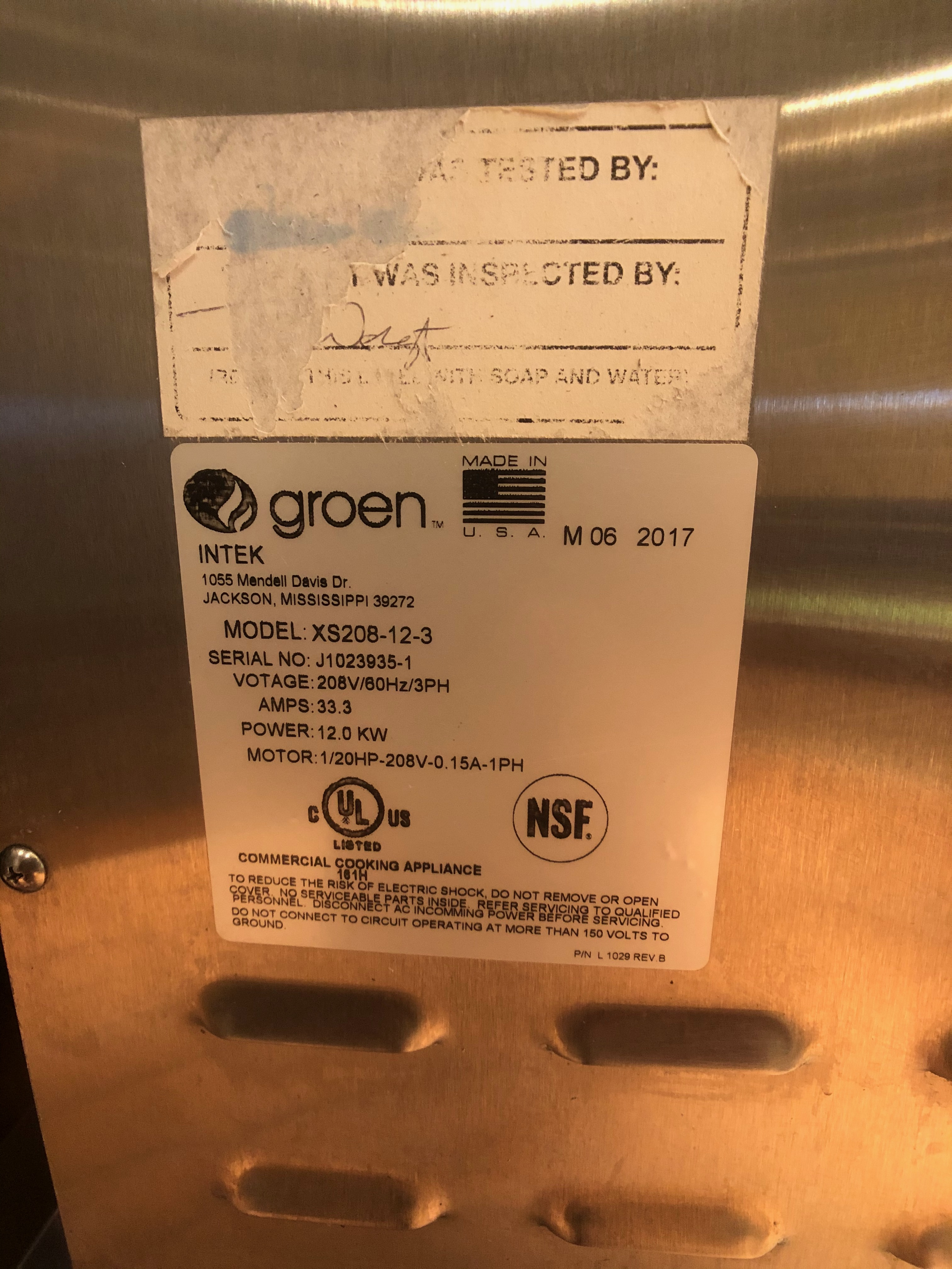 """Groen (6) Pan Countertop Convection Steamer, Model XS-208-12-3, S/N J1023935-1, Holds (6) 12"""" x - Image 7 of 7"""