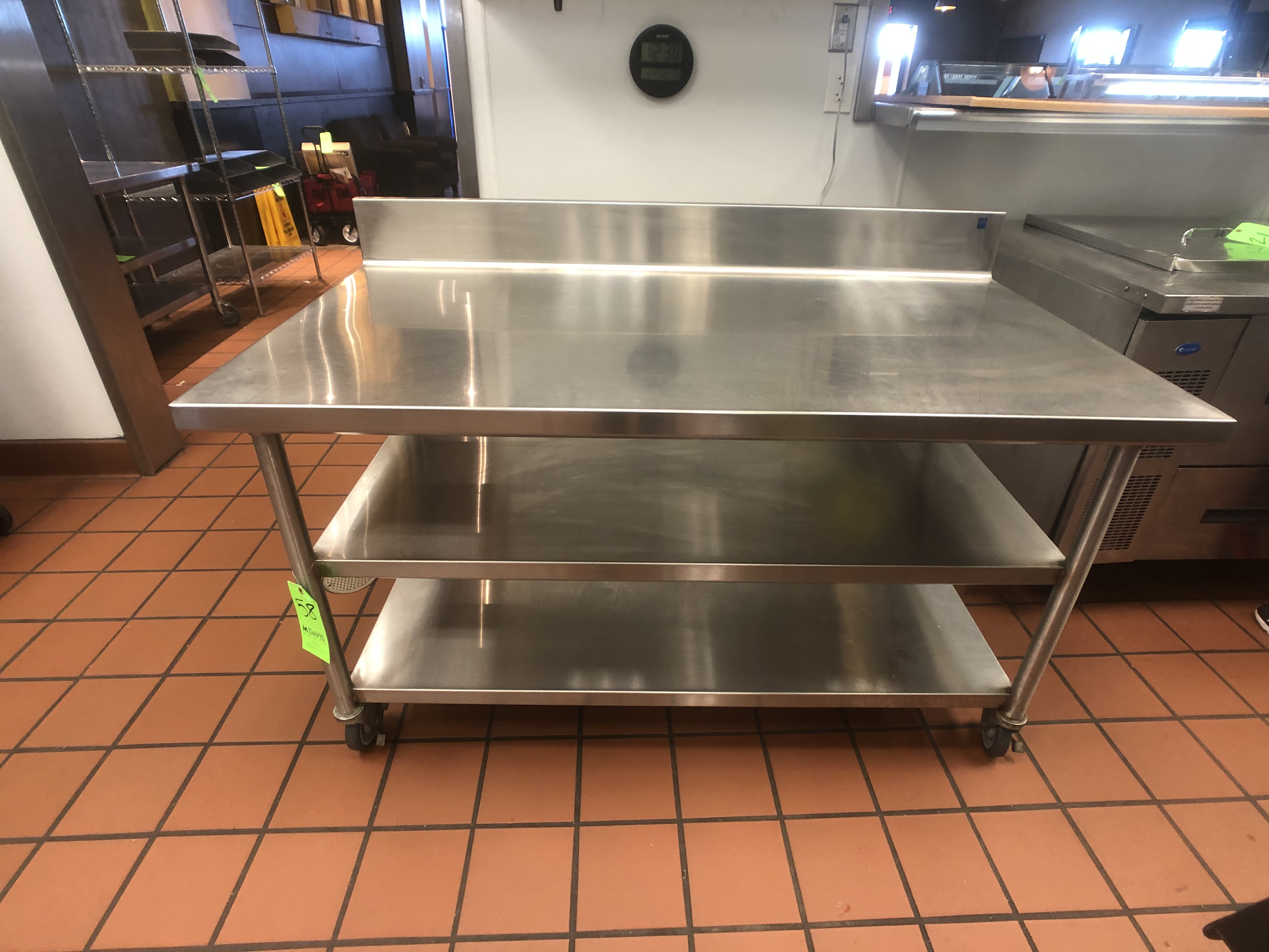 """S/S Table with Racks and S/S Backsplash, Approx. 60"""" L x 32"""" W, Mounted on Casters"""