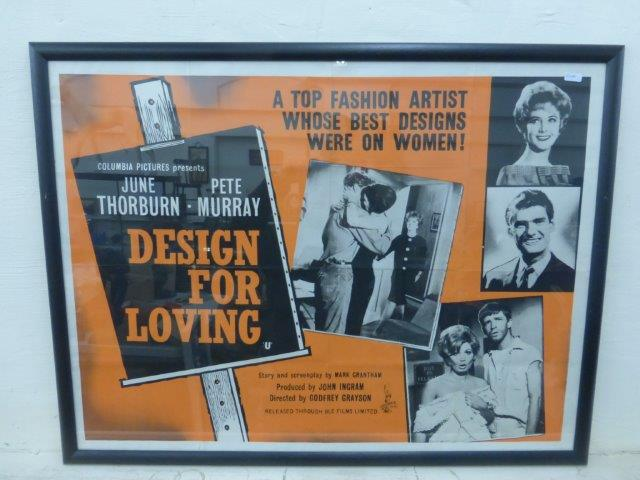 "Lot 322 - An original film poster advertising 'Design for Loving', framed and glazed, 42 x 32""."