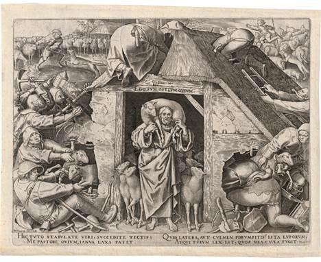 Bruegel d. Ä., Pieter - nach: Die Parabel auf den guten Hirten  nach. Die Parabel auf den guten Hirten. Kupferstich von Phi
