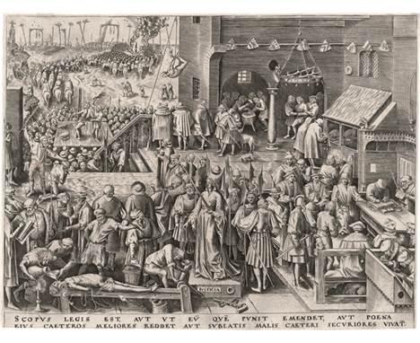 Bruegel d. Ä., Pieter - nach: Justicia  nach. Justicia. Kupferstich von Philipps Galle. 21,9 x 29,1 cm. (1559). Bastelaer 1
