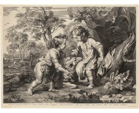 Galle I, Cornelis: Der junge Christus mit dem Johannesknaben  Der junge Christus mit dem Johannesknaben in der Wüste. Kupfe