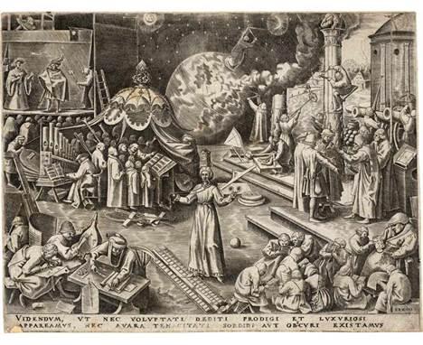 Bruegel d. Ä., Pieter - nach: Temperantia  nach. Temperantia. Kupferstich von Philipps Galle. 22,1 x 28,7 cm. Um 1559/60. B