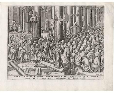 Bruegel d. Ä., Pieter - nach: Fides  nach. Fides. Kupferstich von Philipps Galle, aus der Folge der Sieben Tugenden, wie au