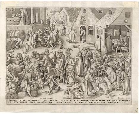 Bruegel d. Ä., Pieter - nach: Charitas  nach. C(h)aritas. Kupferstich von Philipps Galle. 22,3 x 29 cm. 1559. Bastelaer 134