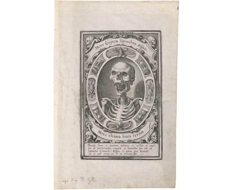 Flämisch: um 1570. Mors ultima linea rerum  um 1570. Mors ultima linea rerum. Kupferstich. 18,7 x 12,2 cm.    Die Vanitas-D