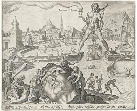 Heemskerck, Maerten van: Die acht Weltwunder  nach. Die acht Weltwunder. 8 Kupferstiche von Philips Galle. Je ca. 21,3 x 26