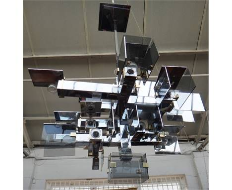 A pair of David Collins ceiling lights, designed 2006, this pair manufactured 2009 by J & L Lobmeyr Austria, chromed metal, s