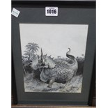 Lot 1016 - Lawson Wood (1878-1957), Dinosaurs and pre-historic animals, three, monochrome gouache,
