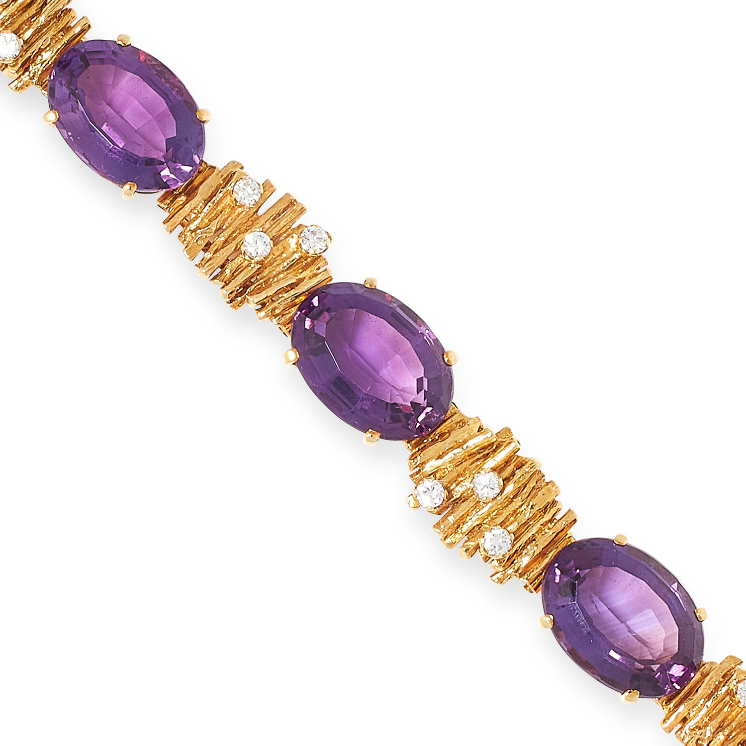 AN AMETHYST AND DIAMOND BRACELET, SEARLE & CO set with oval cut amethysts and round cut diamonds - Image 2 of 2