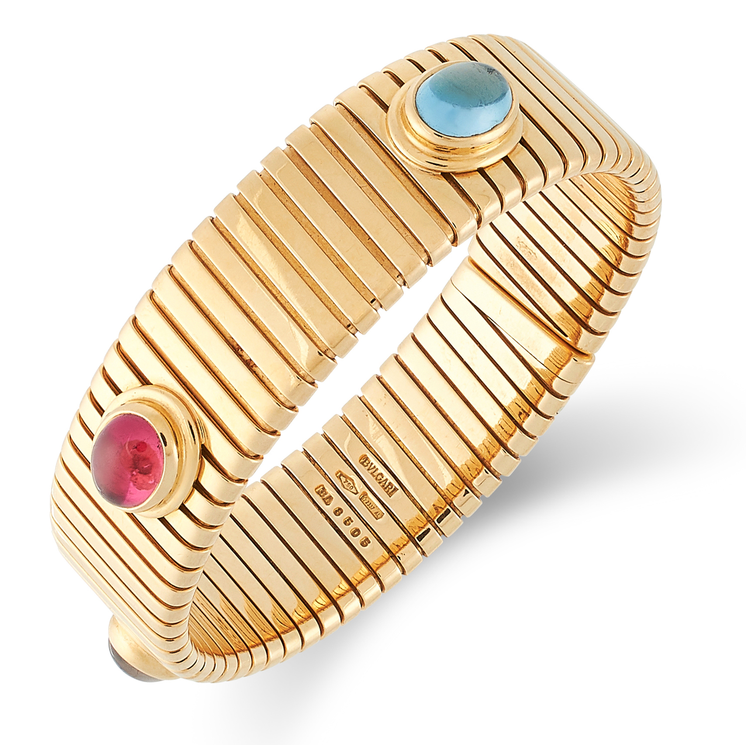 A GEMSET TUBOGAS BRACELET, BULGARI set with a cabochon blue topaz, tourmaline and amethyst, signed - Image 2 of 2