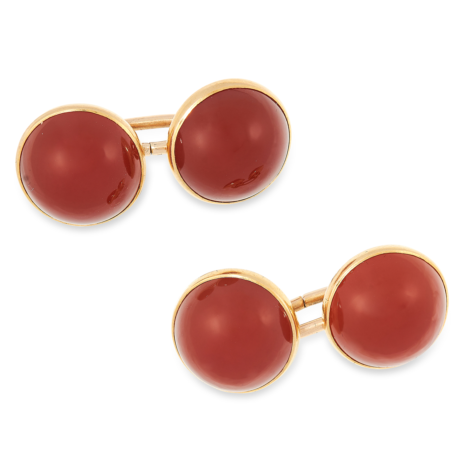 A PAIR OF ANTIQUE CARNELIAN CUFFLINKS each set with two carnelian cabochons, marked for 10ct
