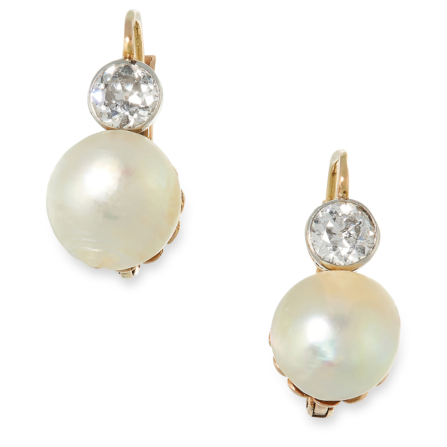 A PAIR OF ANTIQUE NATURAL PEARL AND DIAMOND EARRINGS each set with a natural pearl of 8.9mm and 8.