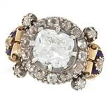 AN ANTIQUE 2.49 CARAT DIAMOND AND ENAMEL RING set with an old cut diamond of approximately 2.49
