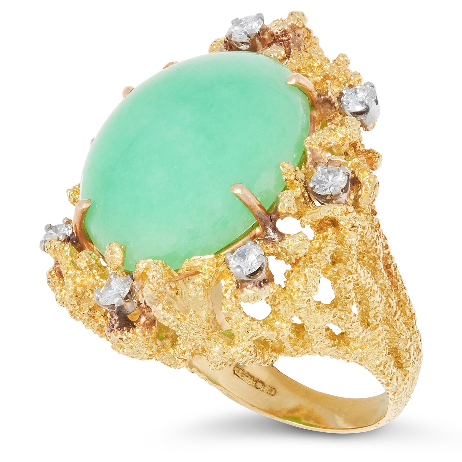 A JADEITE JADE AND DIAMOND RING, CHARLES DE TEMPLE 1973 of abstract naturalistic design set with - Image 2 of 2