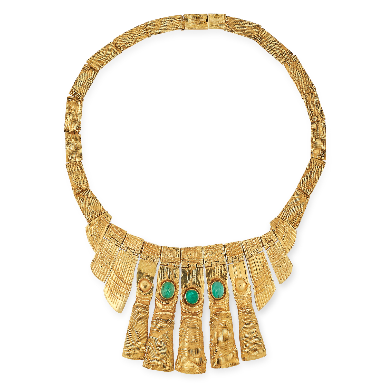 AN EMERALD NECKLACE, CHARLES DE TEMPLE 1973 formed of a fringe of graduated textured gold links, the