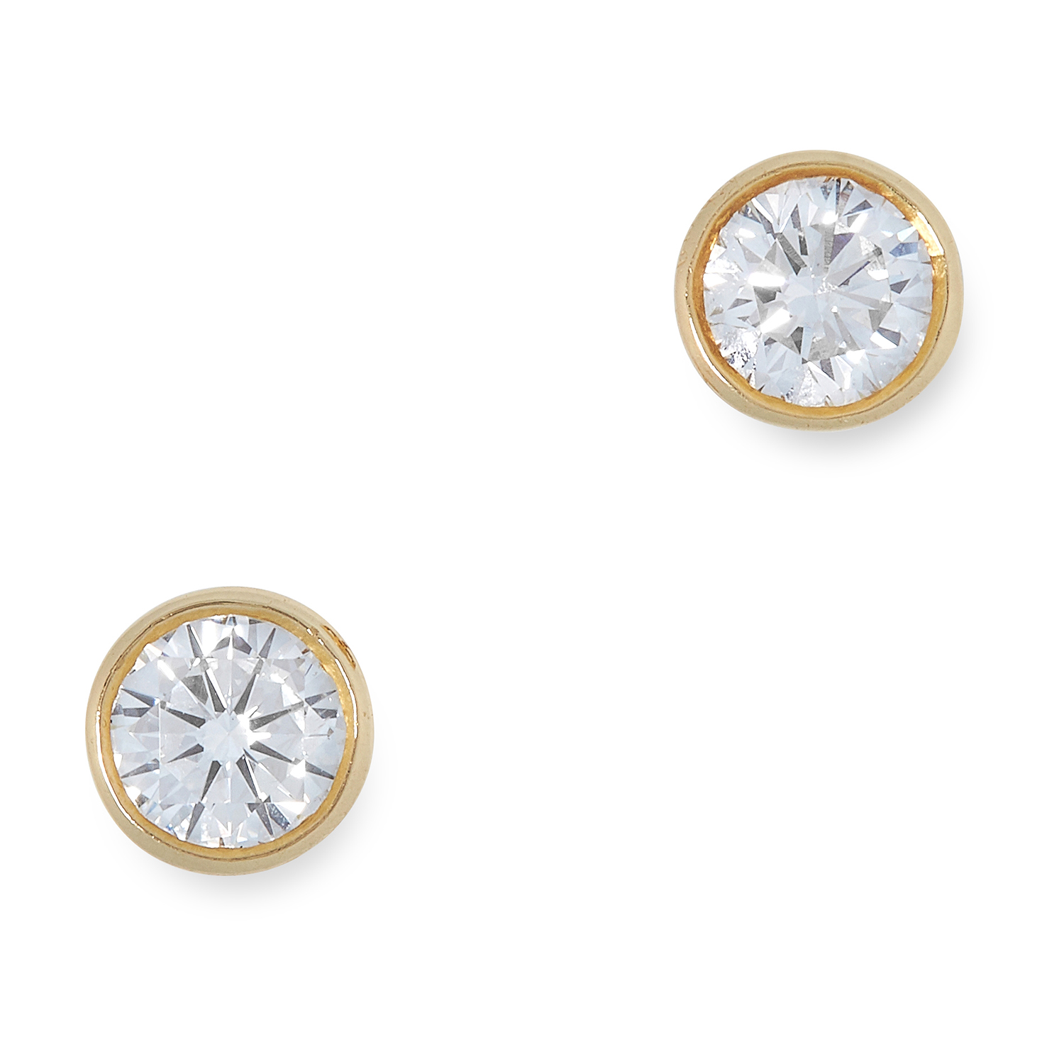 A PAIR OF DIAMOND STUD EARRINGS, BOODLES each set with a round cut diamond, totalling 0.90 carats,