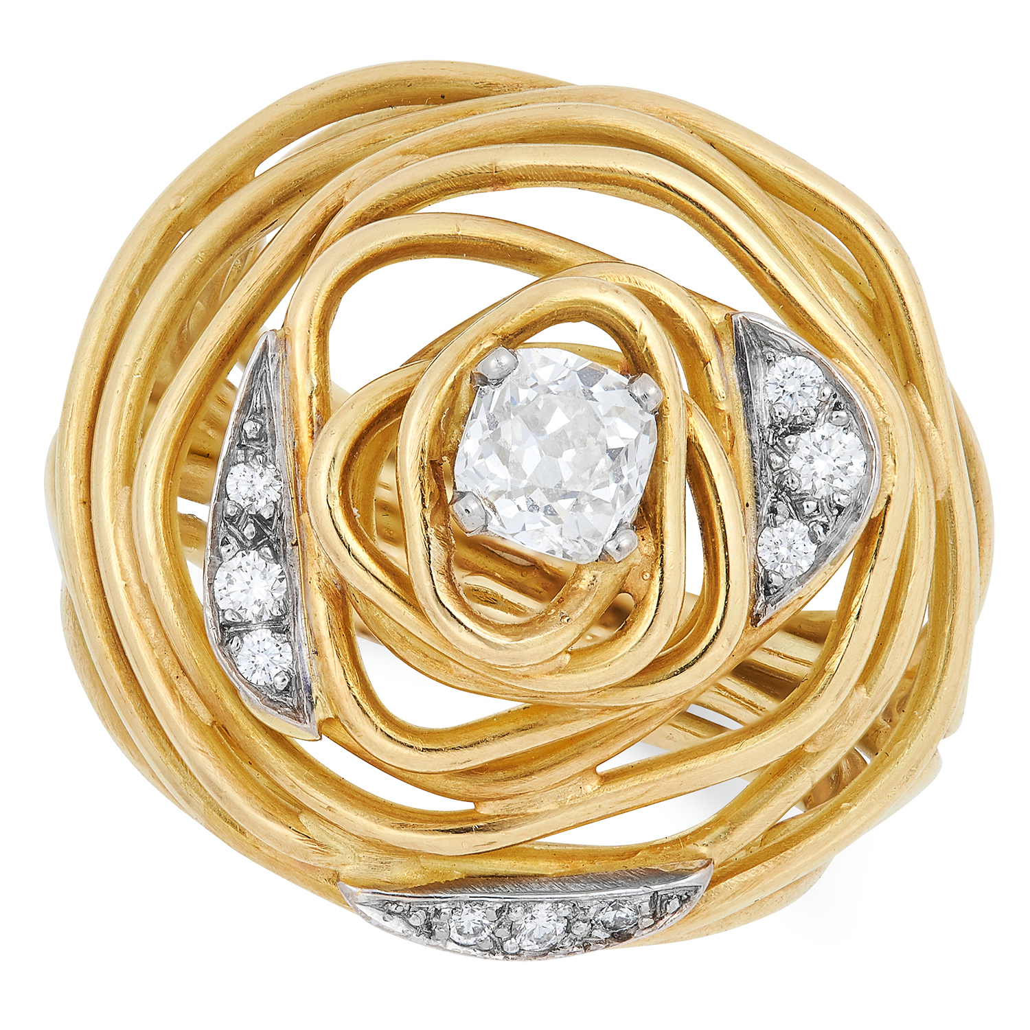A DIAMOND RING, ANDREW GRIMA, CIRCA 1970 open wirework design set with a principal old cut diamond