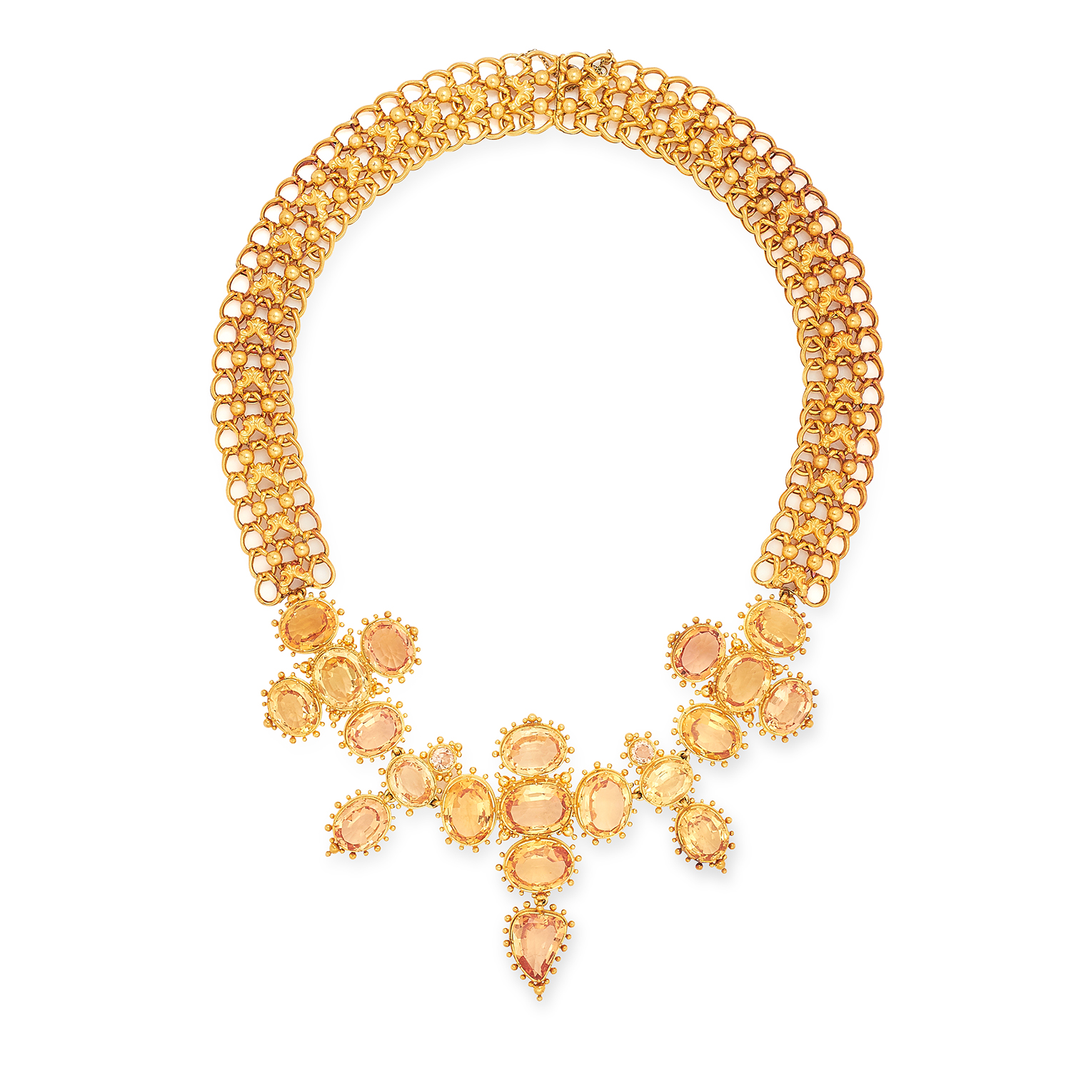 AN ANTIQUE IMPERIAL TOPAZ NECKLACE AND CLIP EARRING SUITE, 19TH CENTURY set with oval, round and