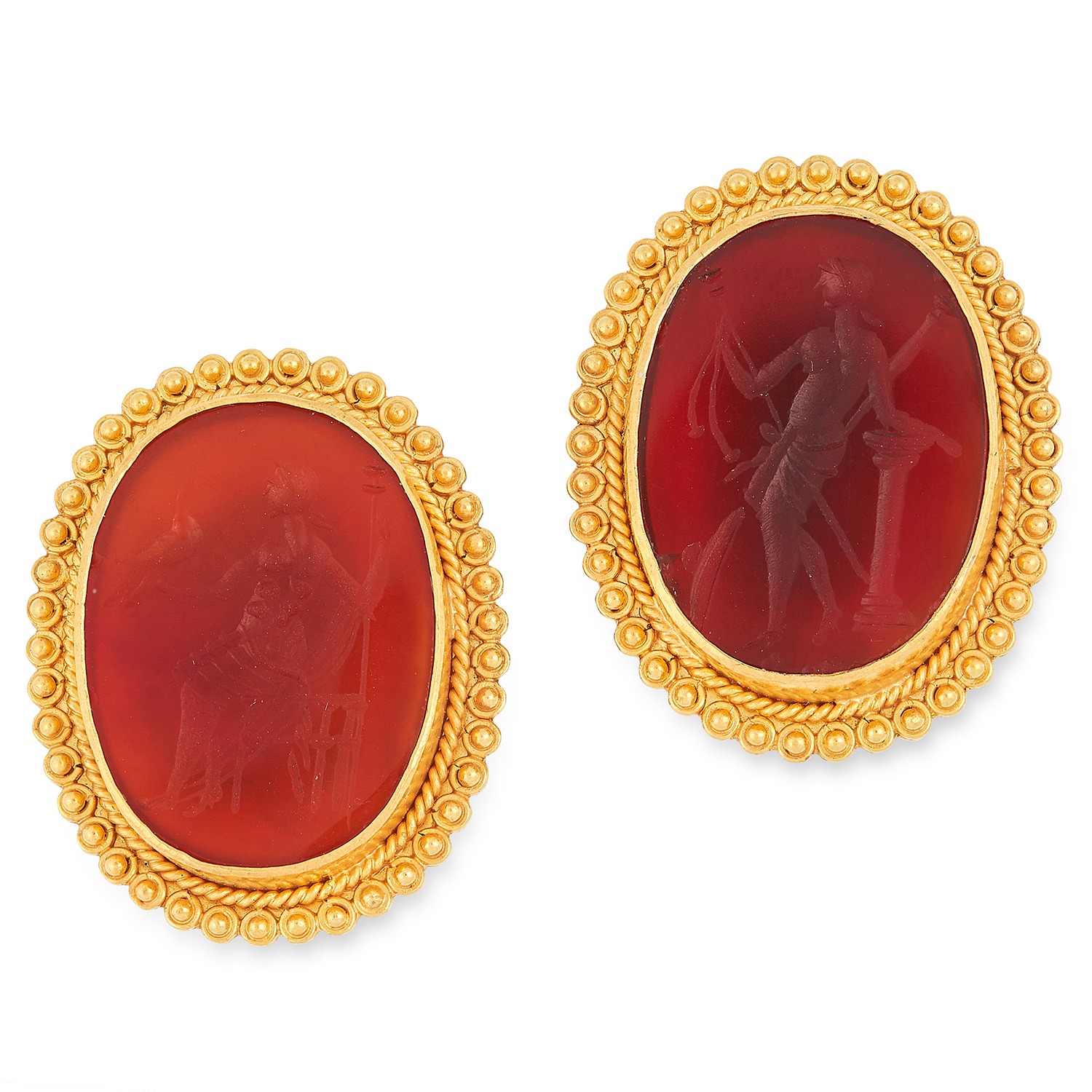 A PAIR OF GRECIAN CARVED HARDSTONE INTAGLIO EARRINGS set with carnelian panels reverse carved to