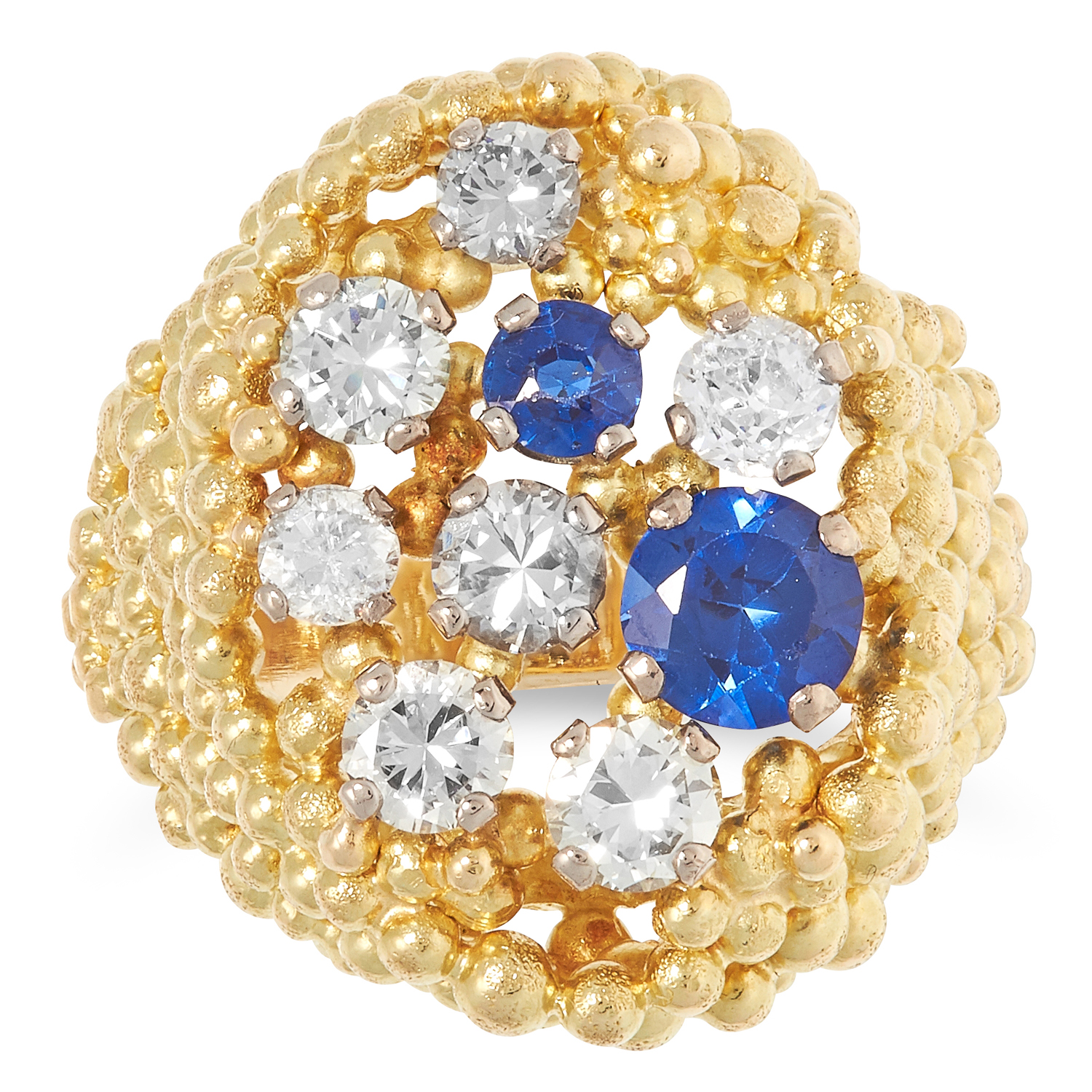 A DIAMOND AND SAPPHIRE RING, CHARLES DE TEMPLE 1972 the abstract beaded and textured design set with