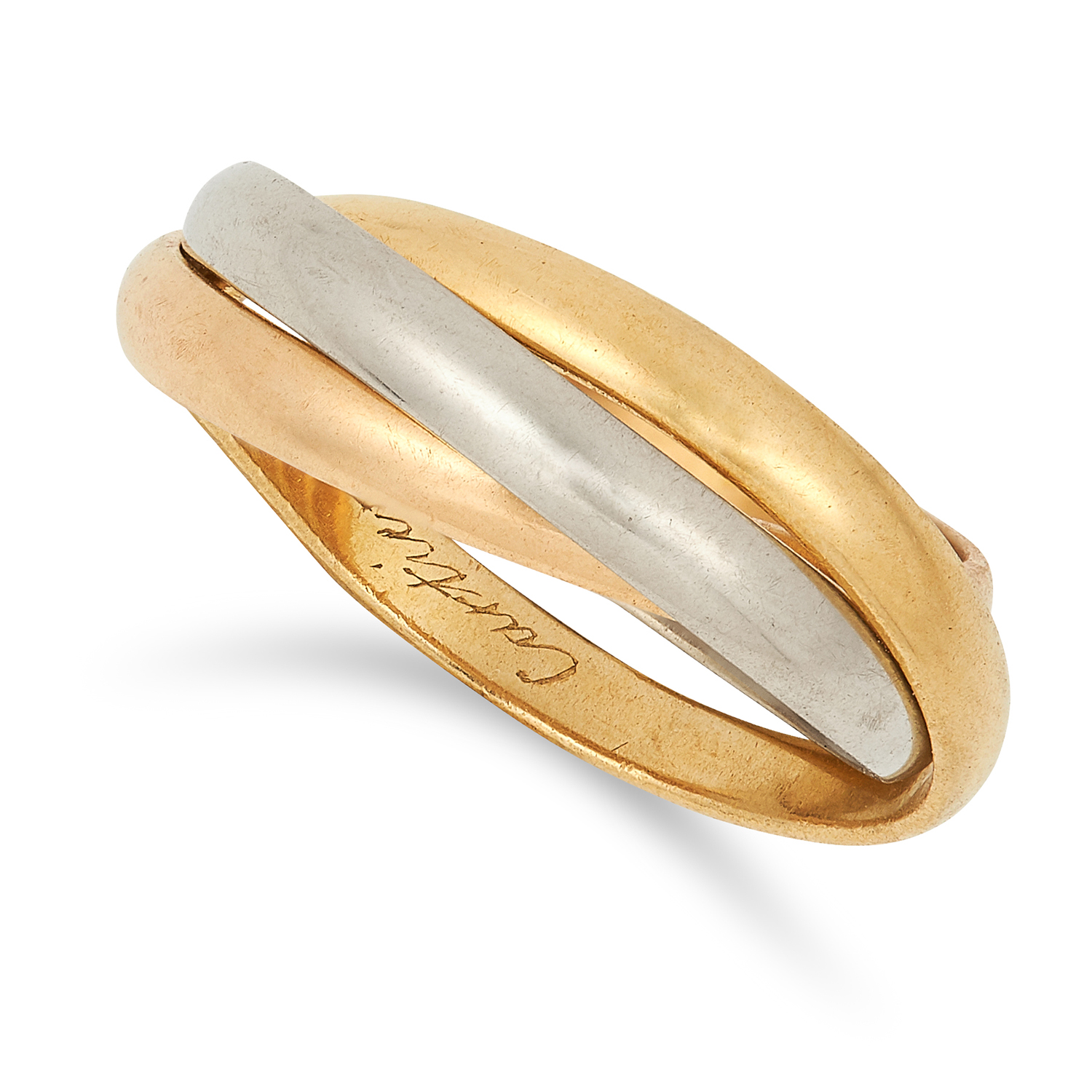 A TRINITY DE CARTIER BAND RING, CARTIER comprising of three gold bands, signed Cartier Paris, French