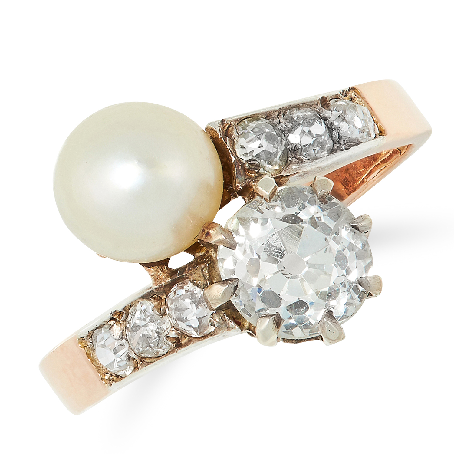 AN ANTIQUE PEARL AND DIAMOND TOI ET MOI RING set with an old cut diamond of 1.12 carats and a