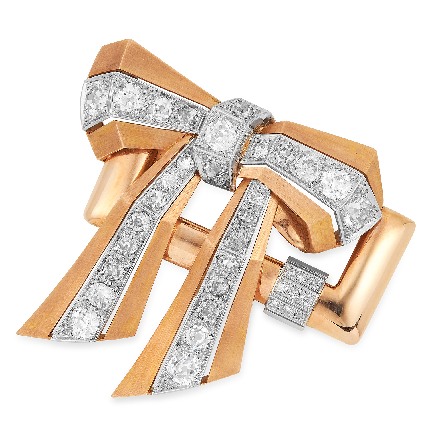 A RETRO DIAMOND BOW BROOCH 1940s designed as a geometric ribbon and bow set with old cut diamonds