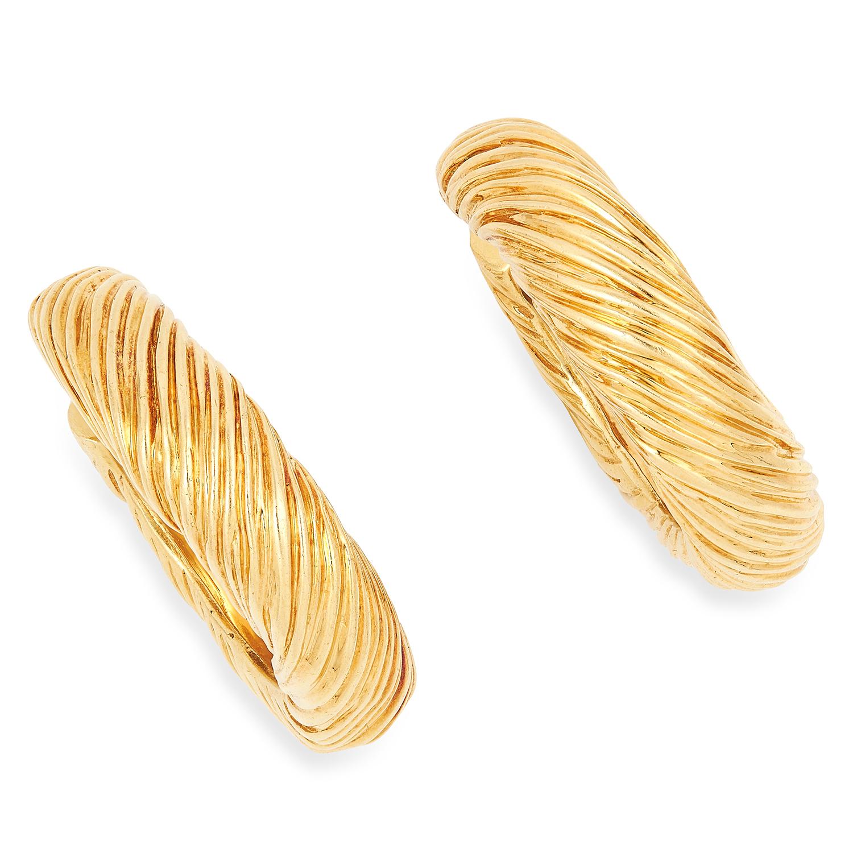 A PAIR OF VINTAGE GOLD HOOP EARRINGS, KUTCHINSKY in textured gold design, signed Kutchinsky, British