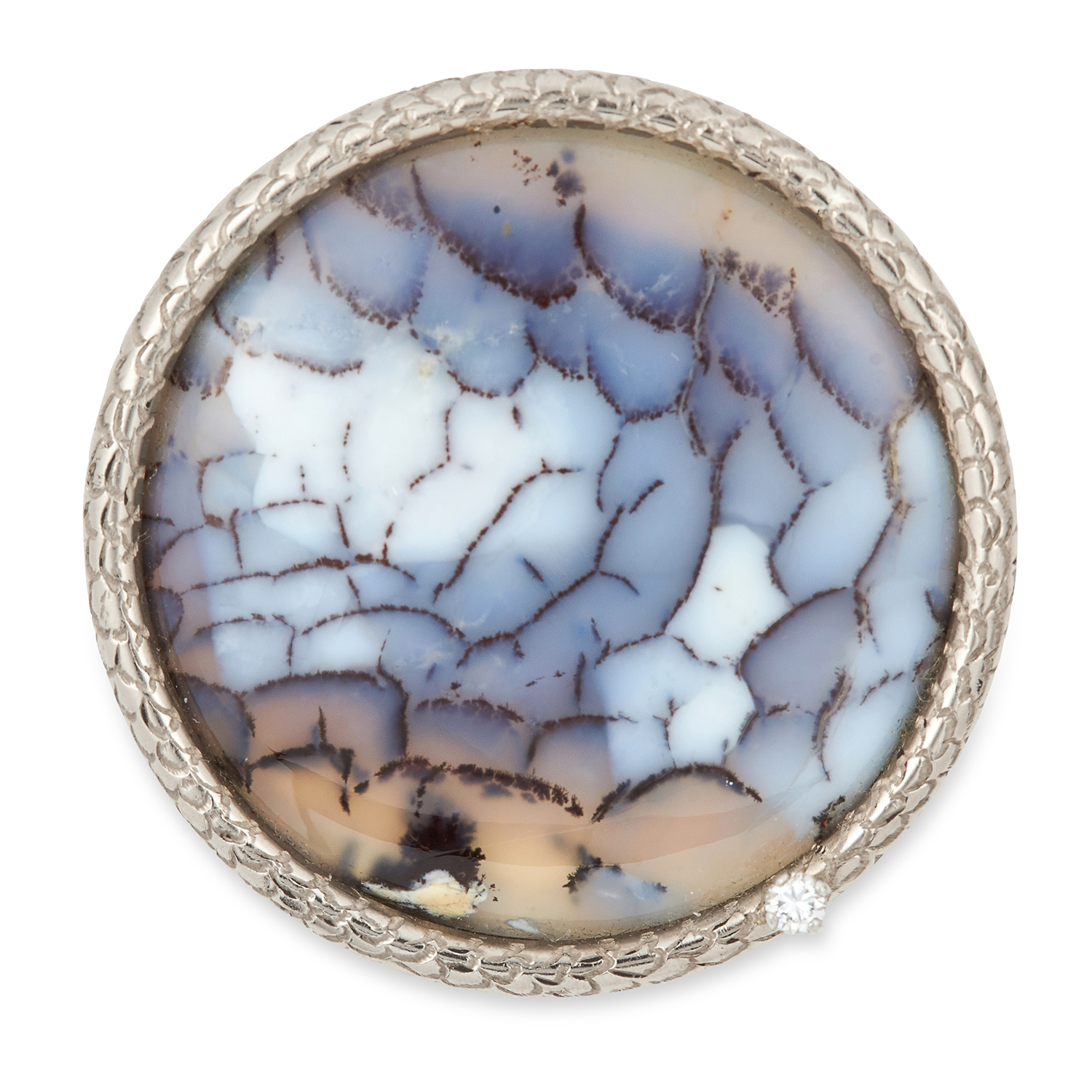 AN AGATE AND DIAMOND BROOCH, ANDREW GRIMA, CIRCA 1970 set with a polished circular agate panel and a