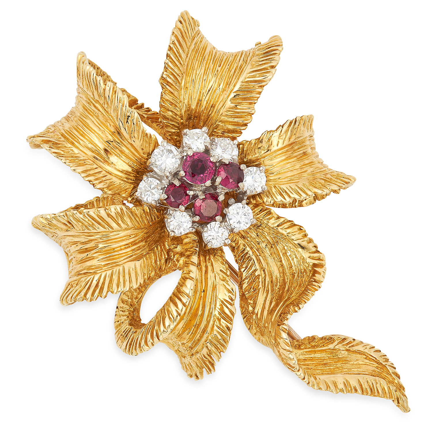 A RUBY AND DIAMOND RIBBON BROOCH, KUTCHINSKY, CIRCA 1960 set with a cluster of round cut rubies