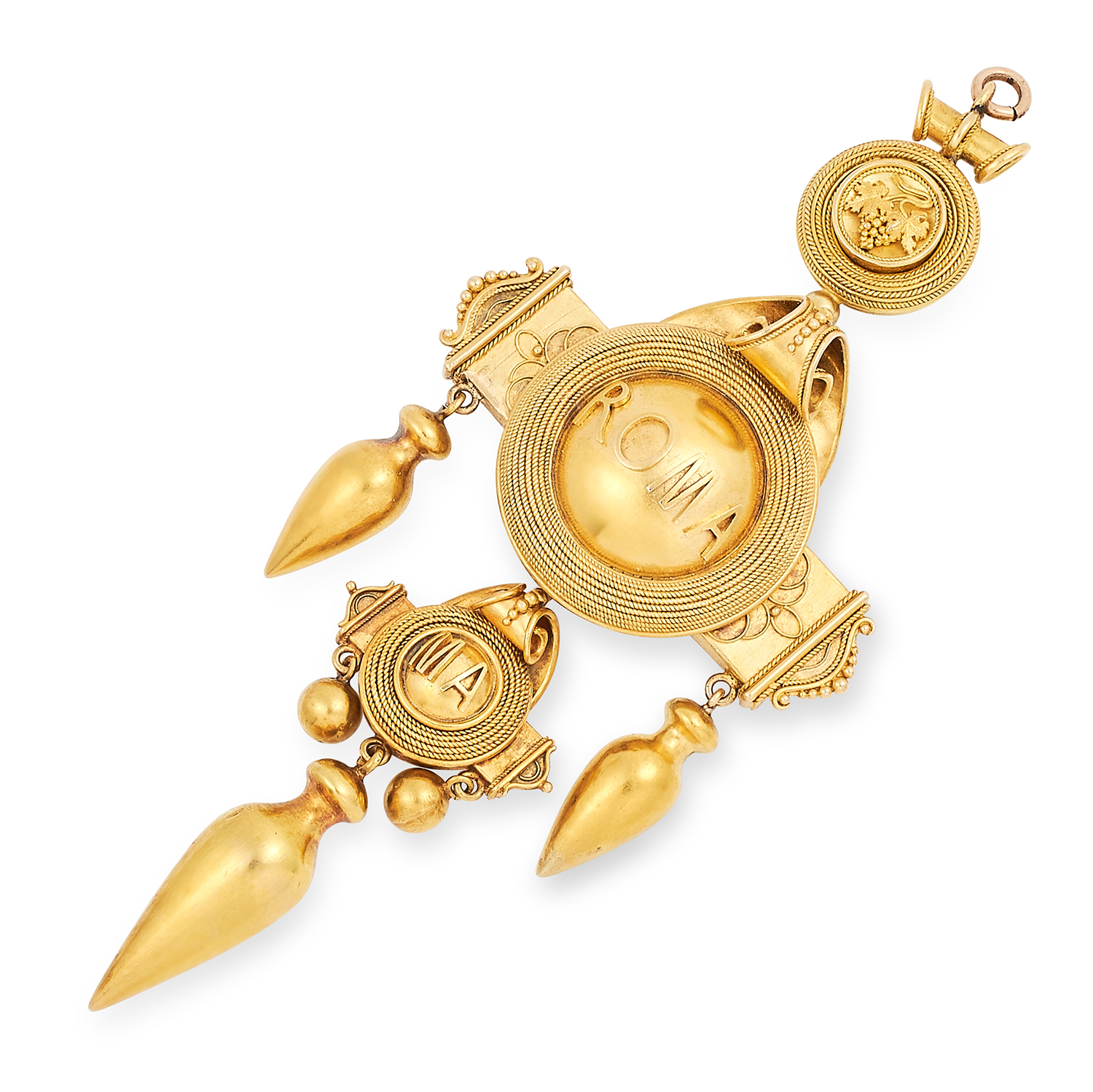 AN ANTIQUE GRAND TOUR PENDANT, 19TH CENTURY in Etruscan revival manner emblazoned ROMA with wirework