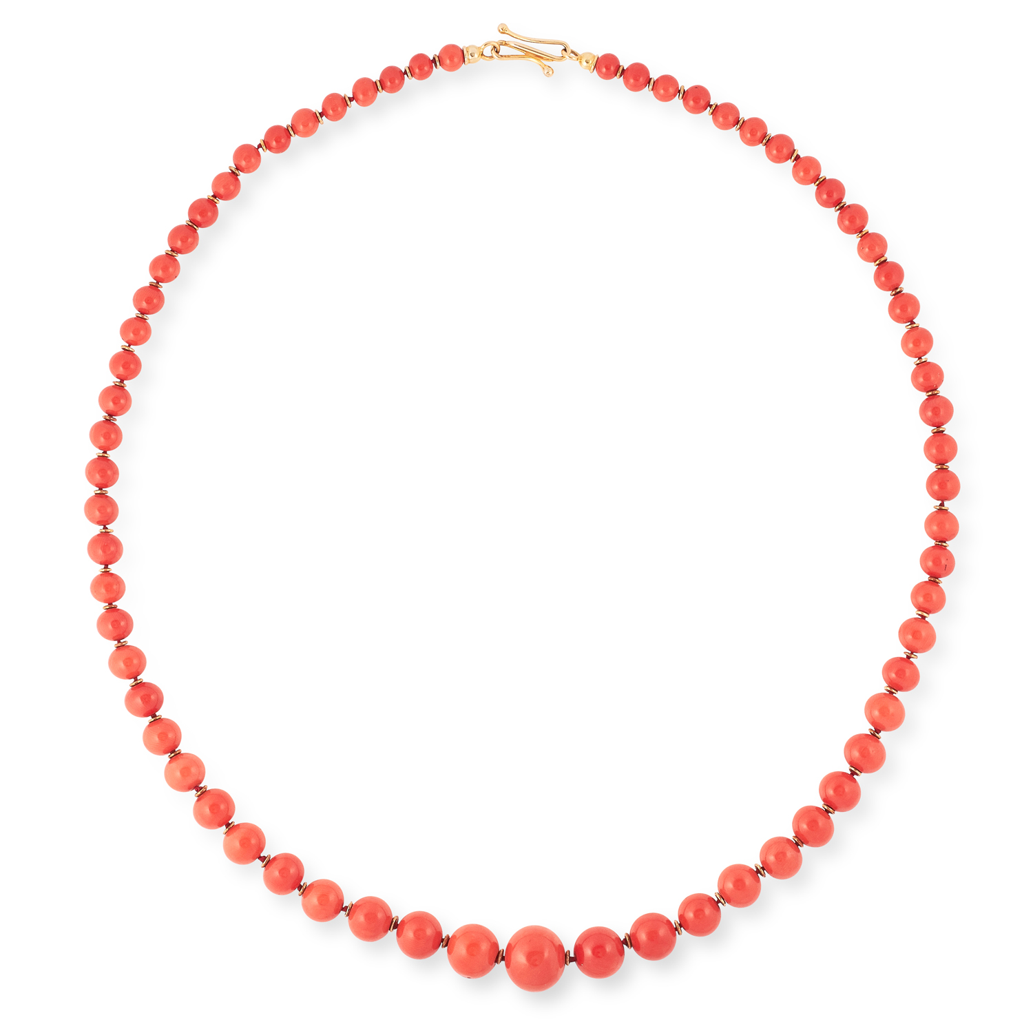 A CORAL AND DIAMOND NECKLACE comprising a single row of sixty-six graduated round coral beads