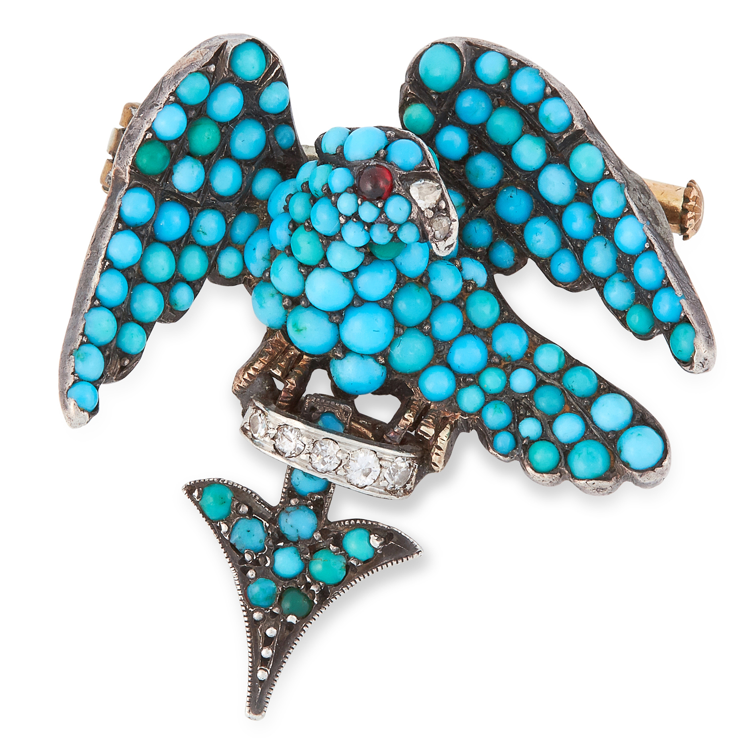 AN ANTIQUE TURQUOISE, GARNET AND DIAMOND EAGLE BROOCH, 19TH CENTURY set with cabochon turquoise,